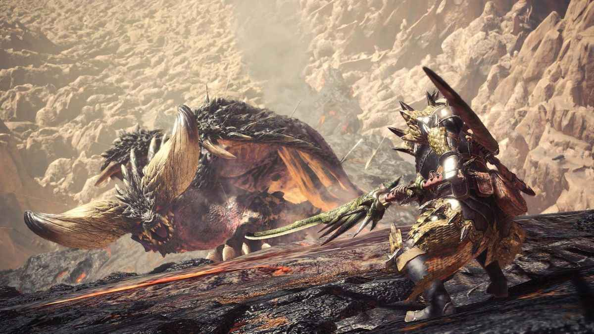 Screenshot tratto da una cutscene di Monster Hunter World con protagonista il Nergigante
