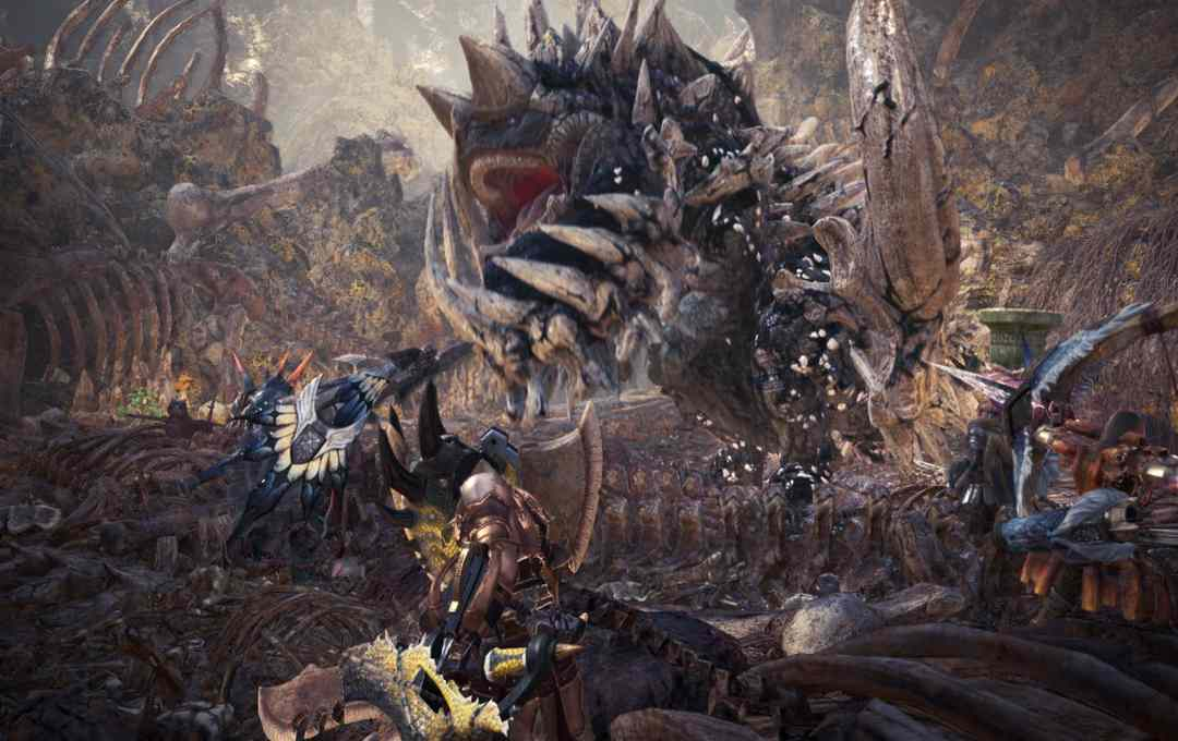 Screenshot da Monster Hunter World che mostra la caccia al Rabbadon