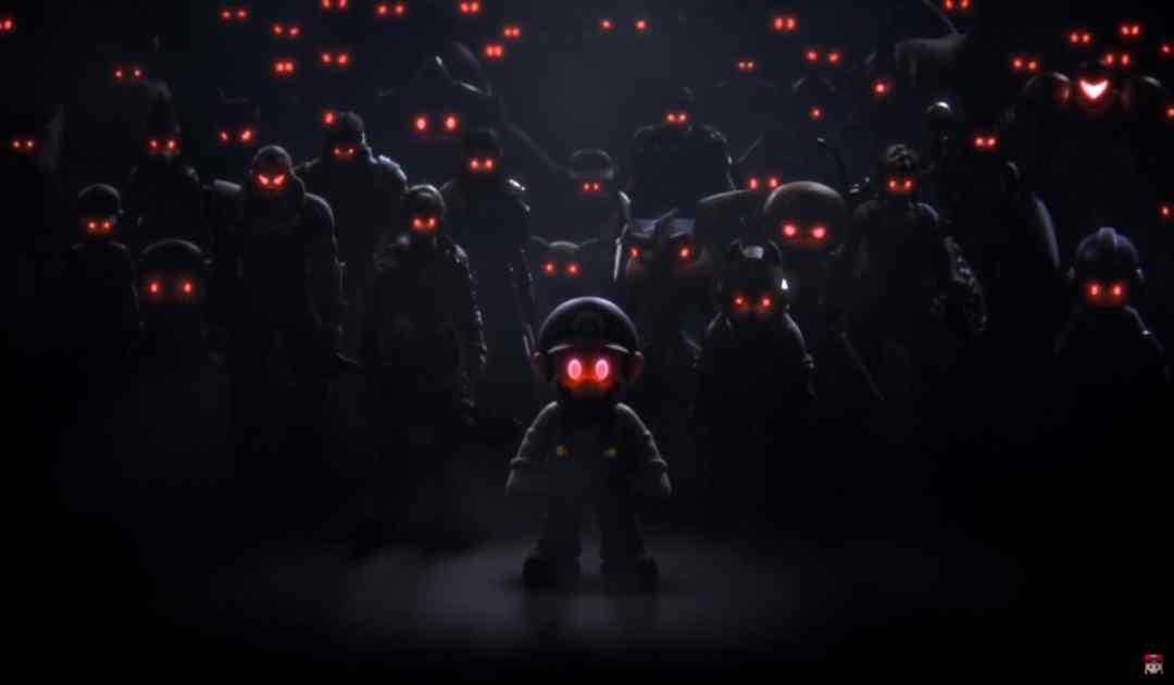 Immagine tratta dal filmato iniziale di World of Light, campagna di Super Smash Bros Ultimate, che ritrae i corpi vuoti dei vari combattenti controllati dal villain