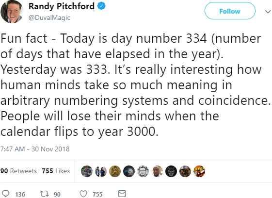 Tweet di Randy Pitchford sul 334esimo giorno dell'anno