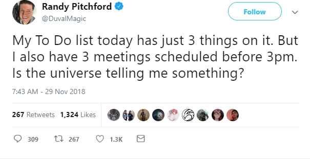 Secondo Tweet di Randy Pitchford sui suoi 3 impegni giornalieri alle 3 del pomeriggio