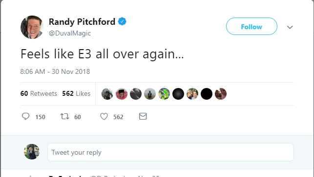 Tweet di Randy Pitchford in cui scrive