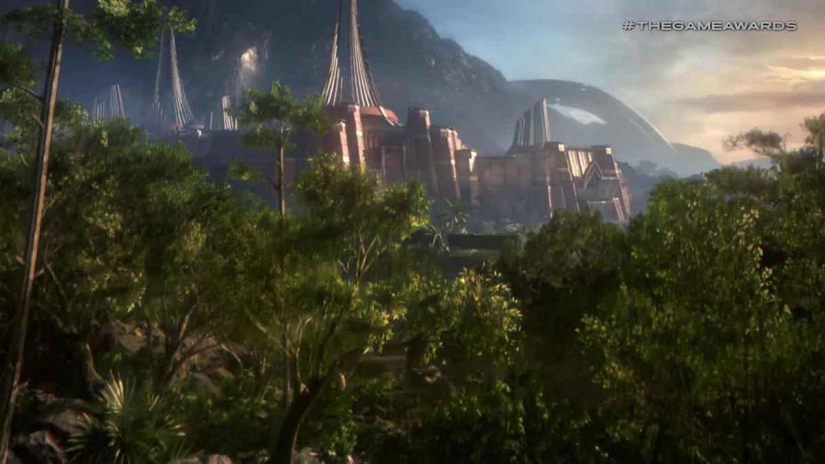 Screenshot tratto da Anthem raffigurante una città piena di guglie architettoniche in mezzo alla giungla