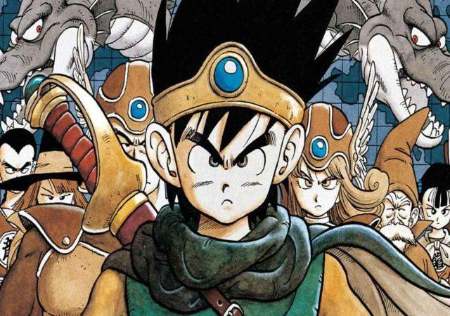 Iconico Artwork con i protagonisti di Dragon Quest 3 ed al centro Erdrick