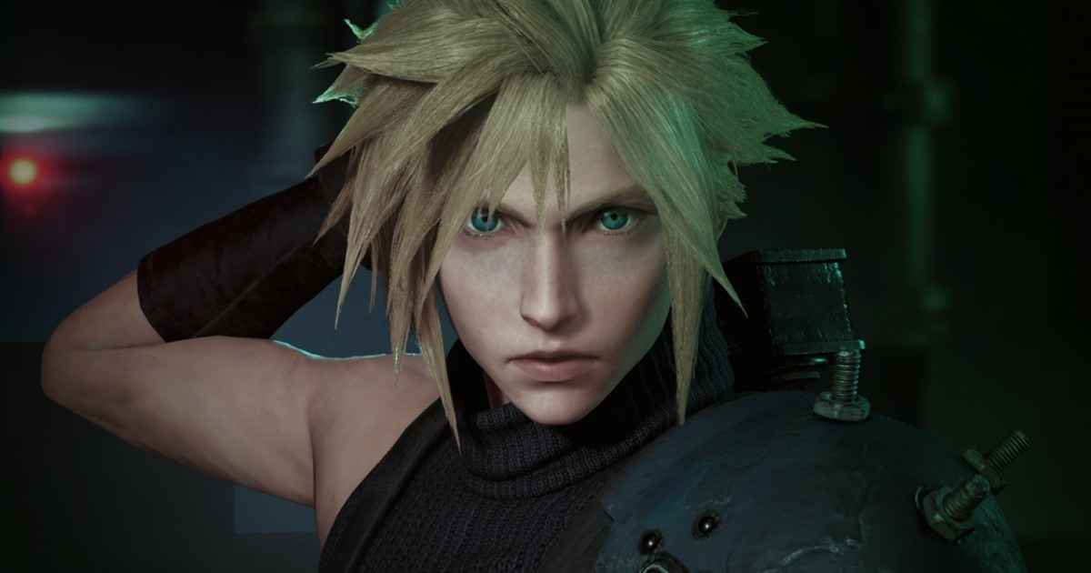 Un close-up di Cloud Strife, protagonista di Final Fantasy VII e di Final Fantasy VII Remake