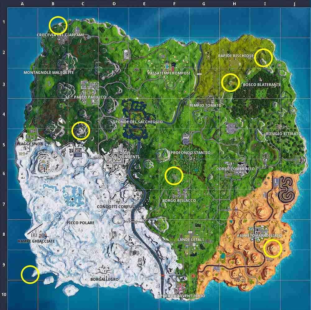"""La mappa della sfida """"balla nei luoghi proibiti"""" della settimana 1 della stagione 7 di Fortnite"""