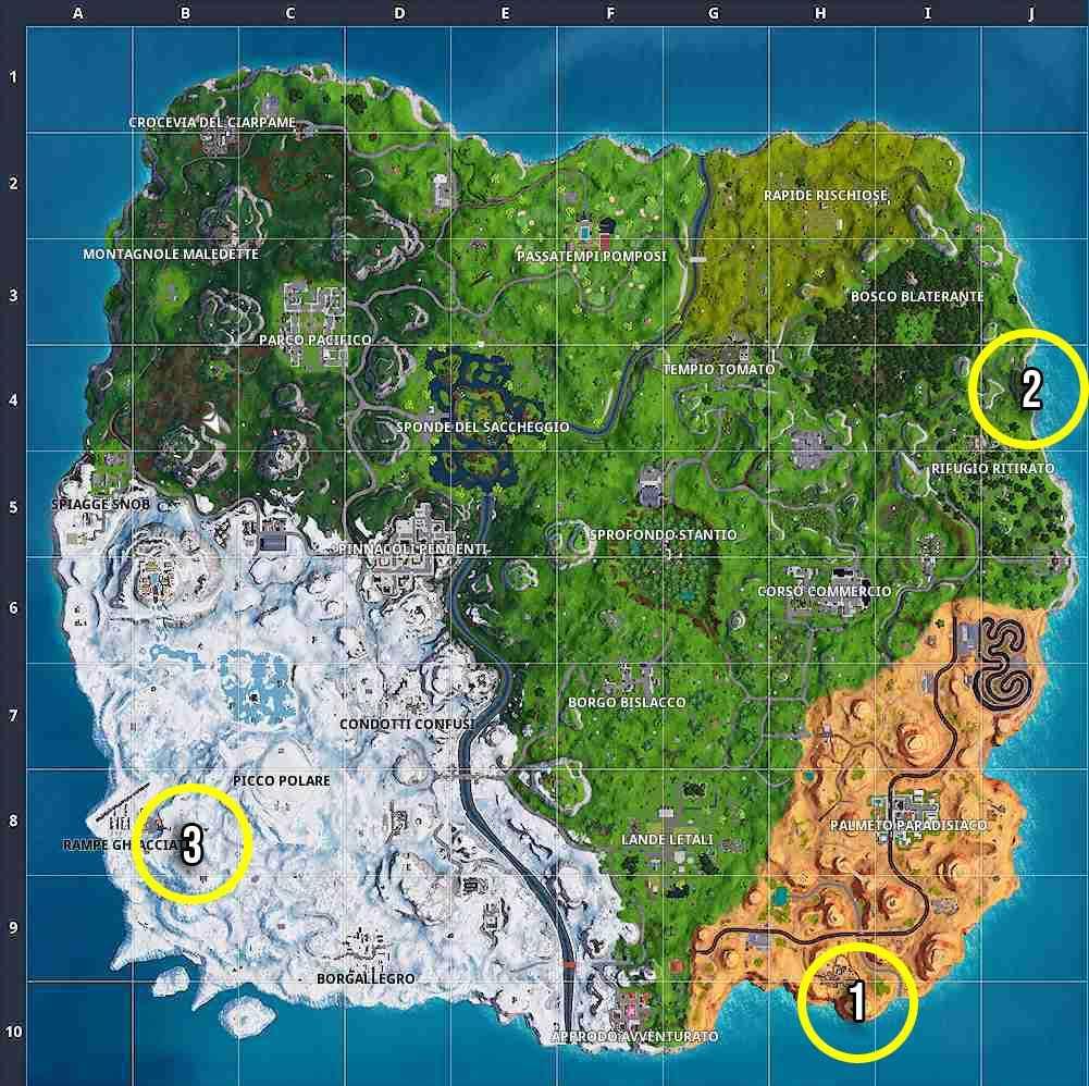 La mappa riguardante la prima sfida a fasi della prima settimana della settima stagione di Fortnite