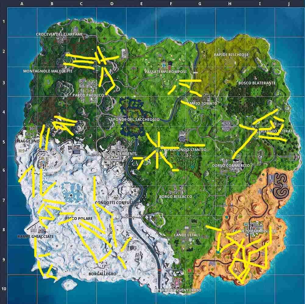 Fortnite Stagione 7 Settimana 3 mappa teleferiche ziplines