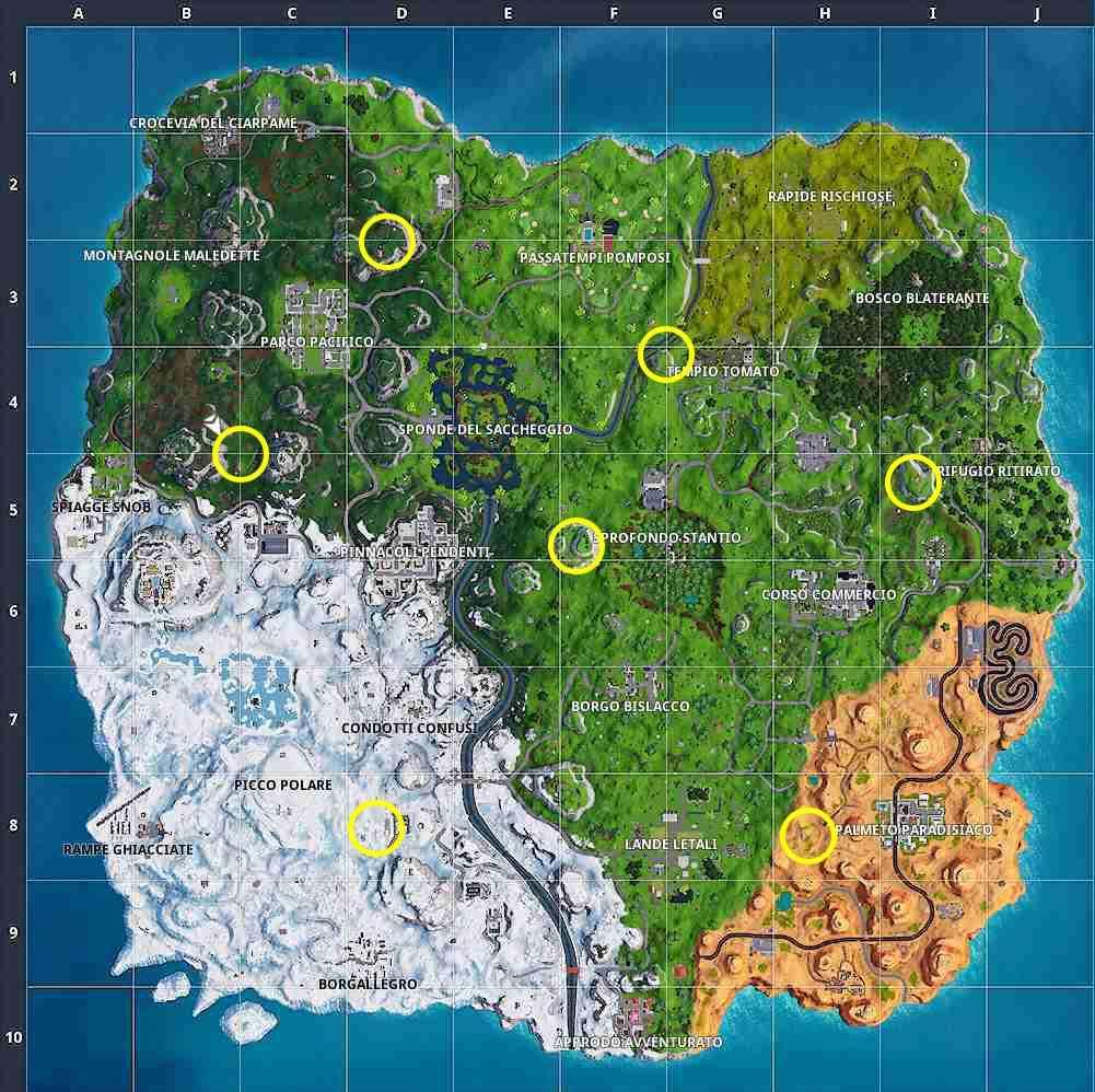Guida Fortnite Stagione 7 Settimana 4 mappa avamposti spedizione