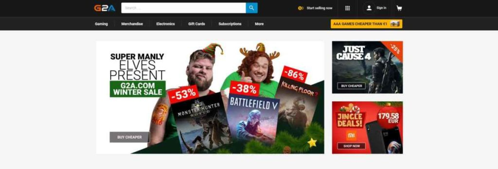 G2A screenshot homepage