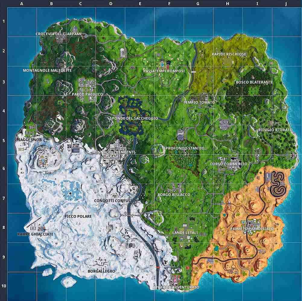 La mappa della stagione 7 di Fortnite
