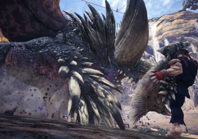 Ryu di Street Fighter nei panni di un provetto cacciatore in Monster Hunter World