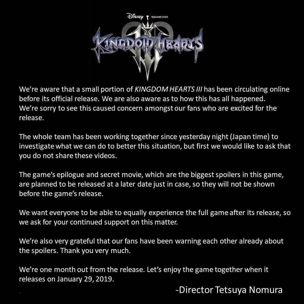 Comunicato ufficiale Square Enix sui leak di Kingdom Hearts 3