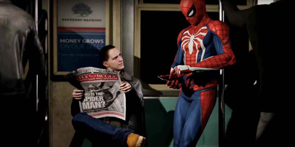 Screenshot da Spider-Man PS4 dove Spiderman prende la metropolitana sotto gli occhi sorpresi dei newyorkesi