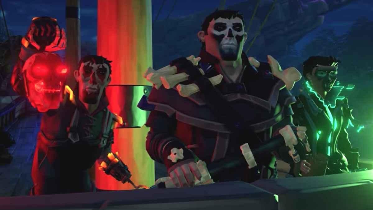 Screenshot dal trailer di Shrouded Spoils, update di Sea of Thieves che ritrae tre pirati mascherati da scheletri
