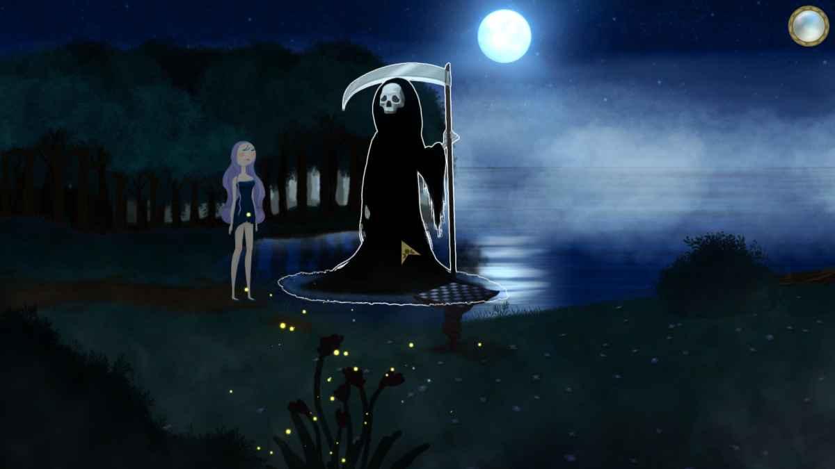 Screenshot di Beyond the Sky che ritrae Selene in presenza del Tristo Mietitore, davanti ad una scacchiera