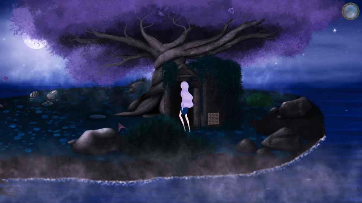 Screenshot di Beyond the Sky che raffigura Selene nell'isola di Euterpe, nel mentre cerca di risolvere un enigma