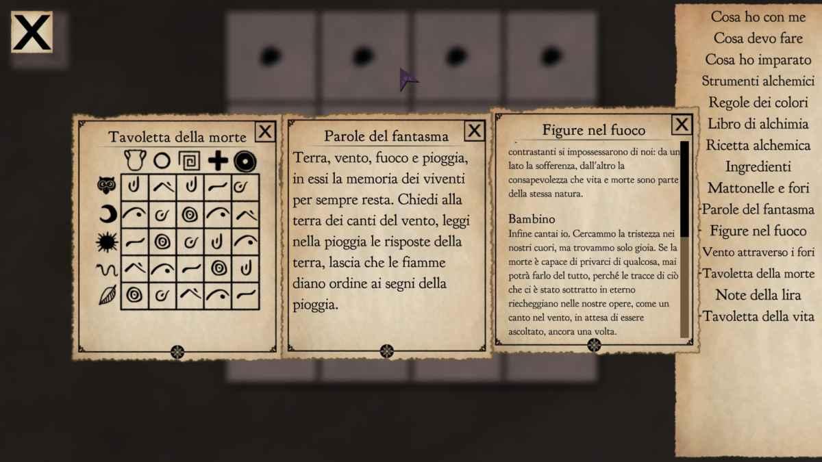 Screenshot di Beyond the Sky che raffigura la composizione del Diario di gioco e degli appunti di un enigma