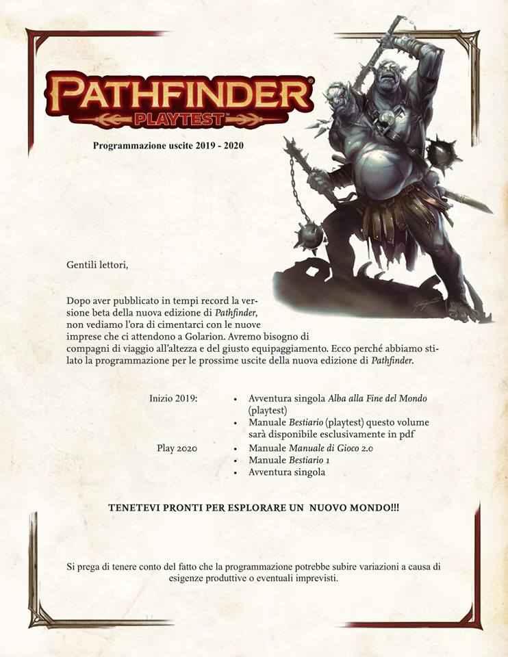 UScite 2019-2020 per Pathfinder Playtest