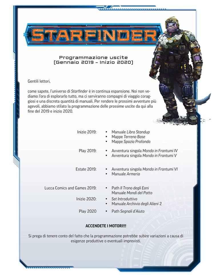 Uscite per Starfinder 2019