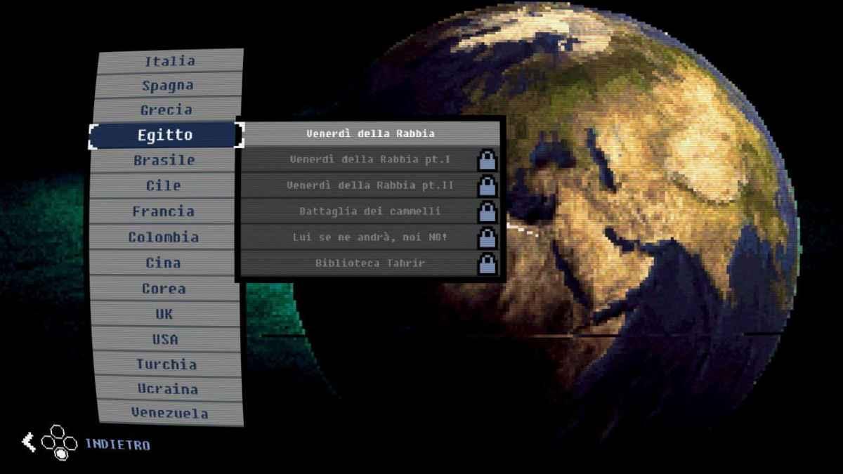 La schermata di selezione dello scenario nella modalità multigiocatore locale Versus di Riot: Civil Unrest