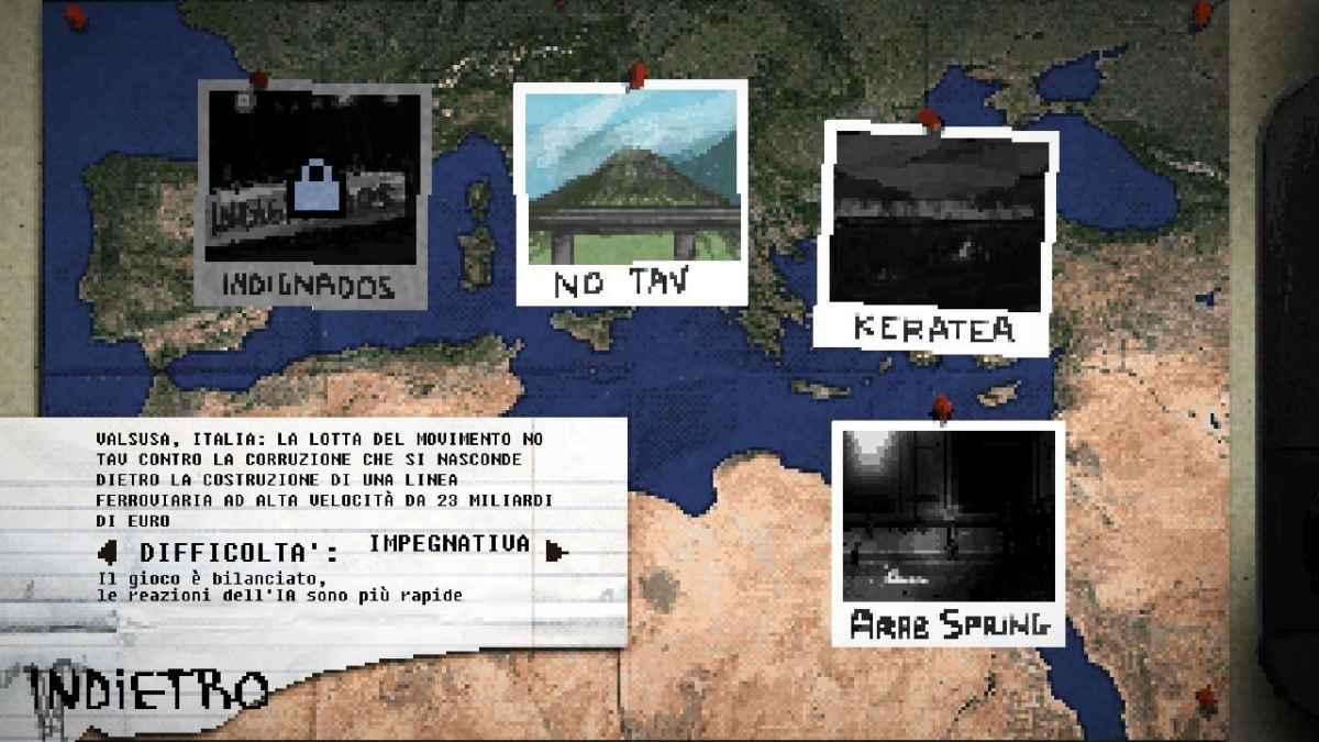 Schermata di selezione delle 4 Campagne su Riot: Civil Unrest