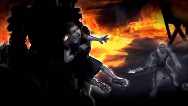 Il rapimento di Deimos da parte di Ares e Atena