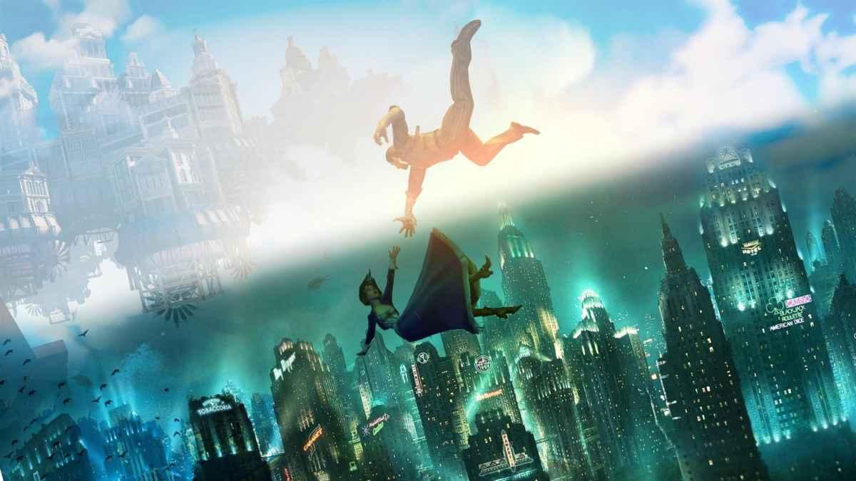Artwork per Bioshock the Collection che raffigura i protagonisti di Bioshock Infinite cadere dentro Rapture da Columbia