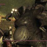 Screenshot della temibile boss fight del tutorial di Demon's Souls contro la Vanguard