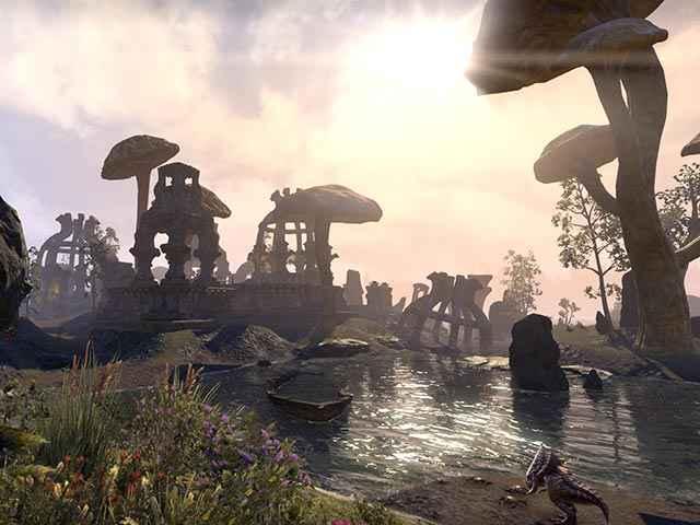 Un paesaggio dell'isola vulcanica di Vvanderfell, come appare in The Elder Scrolls Online