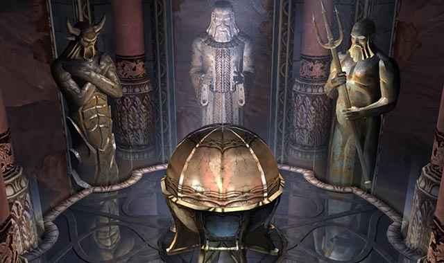 Il contenitore dello Scrigno di Pandora in God of War (2005), guardato dalle statue dei tre dèi olimpici originari