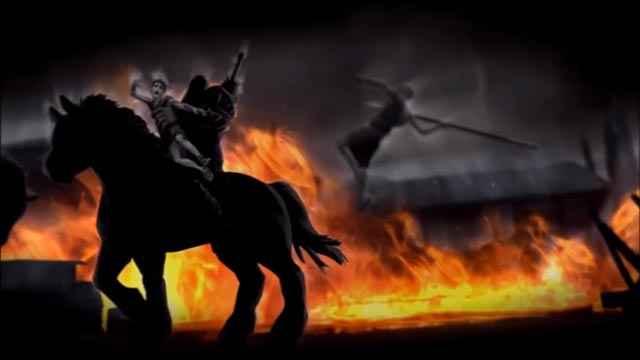 Kratos bambino che attacca Ares per salvare il fratello Deimos