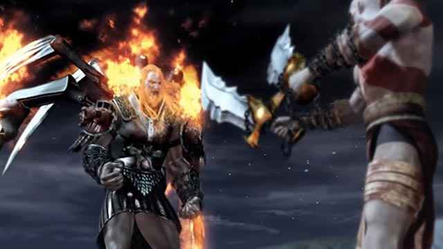 Lo scontro finale fra Kratos e Ares in God of War (2005)