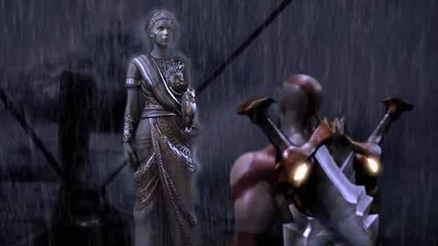 Una statua di Atena funge da quest giver per Kratos