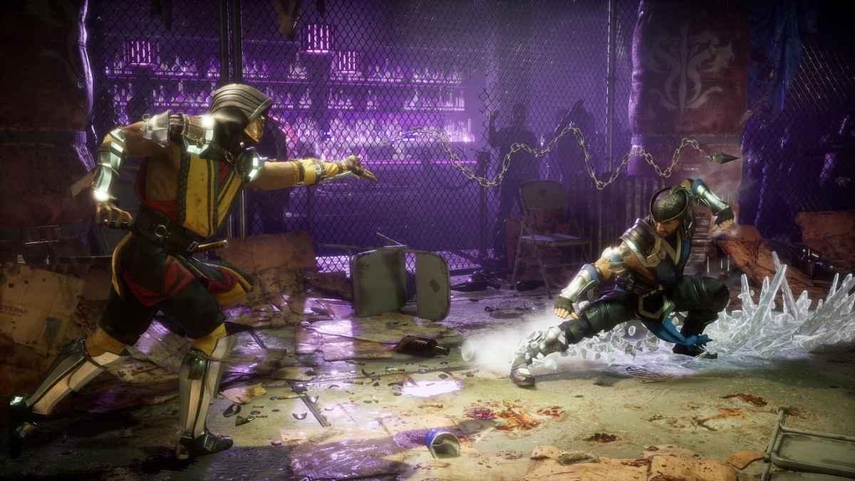 Screenshot di un combattimento di Mortal Kombat 11 tra Sub-Zero e Scorpion