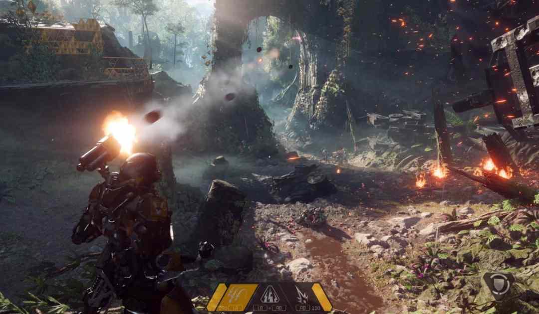 Screenshot da Anthem che mostra il combattimento aereo
