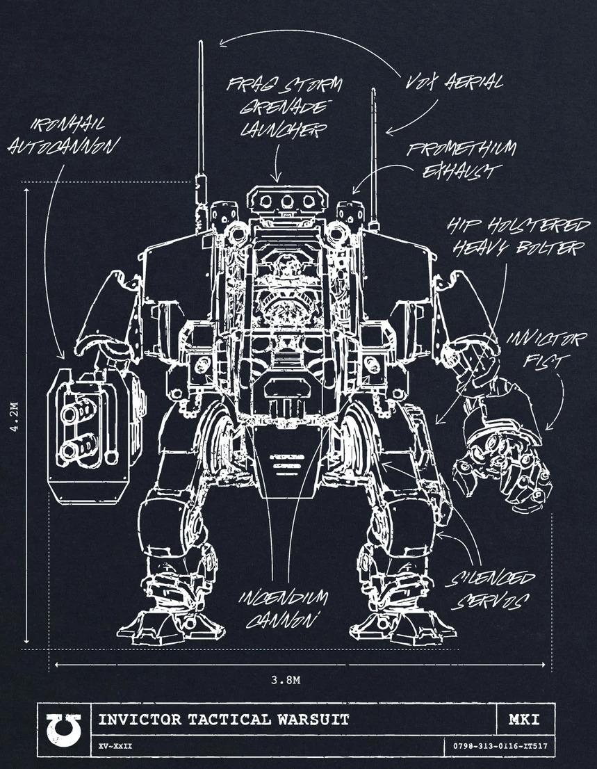 Secondo schema dell'Armatura Tattica Invictor degli Space Marine Primaris