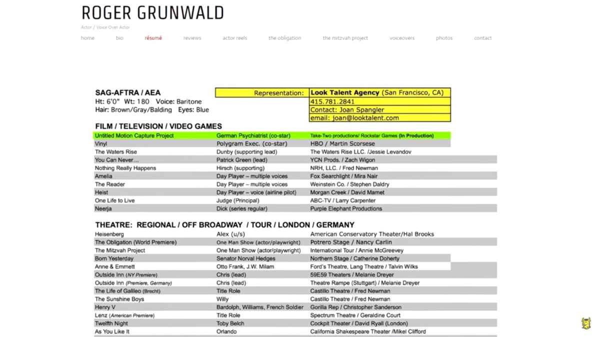 Curriculum di un voice actor di Rockstar che potrebbe comparire su Bully 2