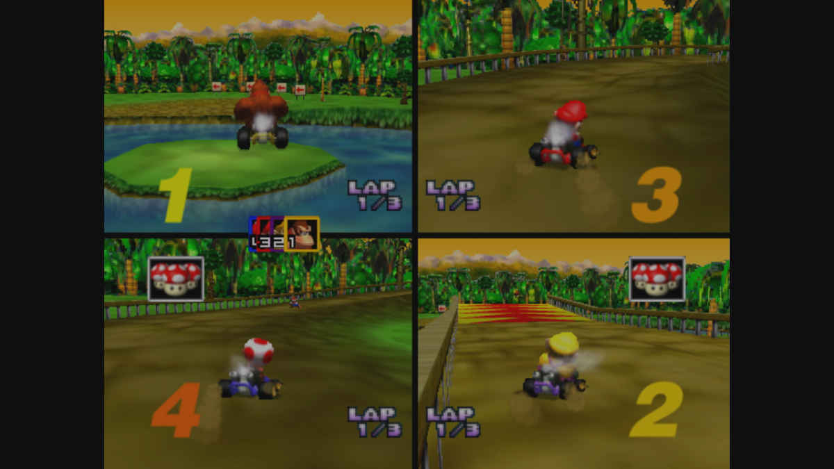 Screenshot da una modalità split screen del mitico Mario Kart 64