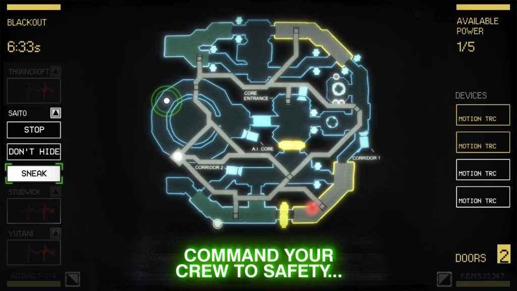 Screenshot di Alien: Blackout che vede raffigurato il pannello di controllo del sistema di sicurezza della nave