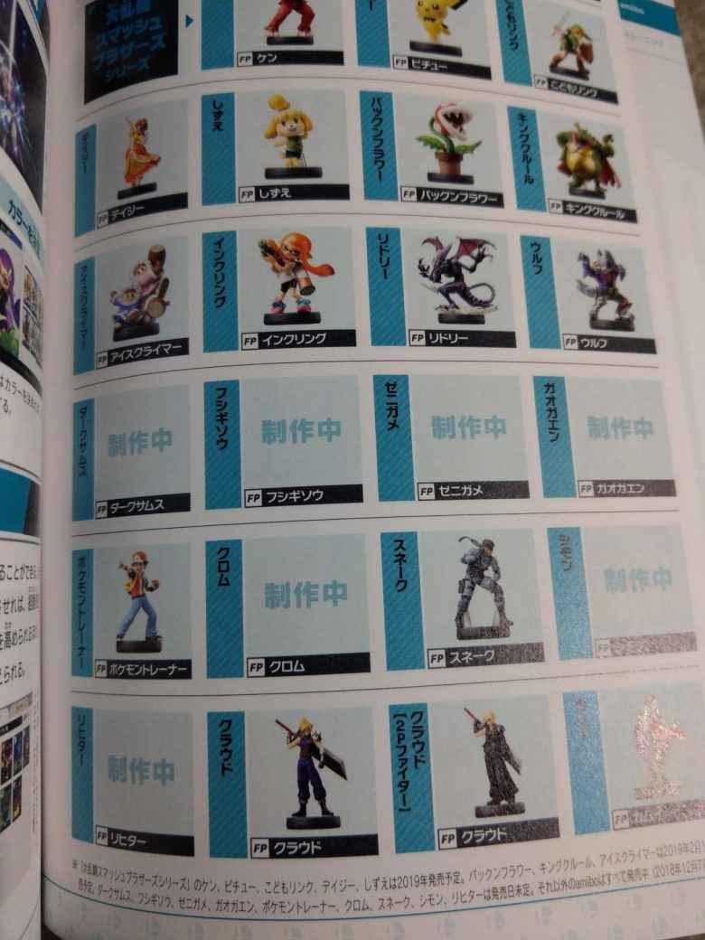 Foto dalla guida ufficiale di Super Smash Bros giapponese che raffigura delle amiibo non ancora annunciate