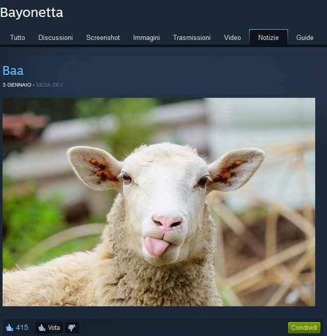 La pecora che ricorda catherine proviene direttamente dal profilo steam di Bayonetta