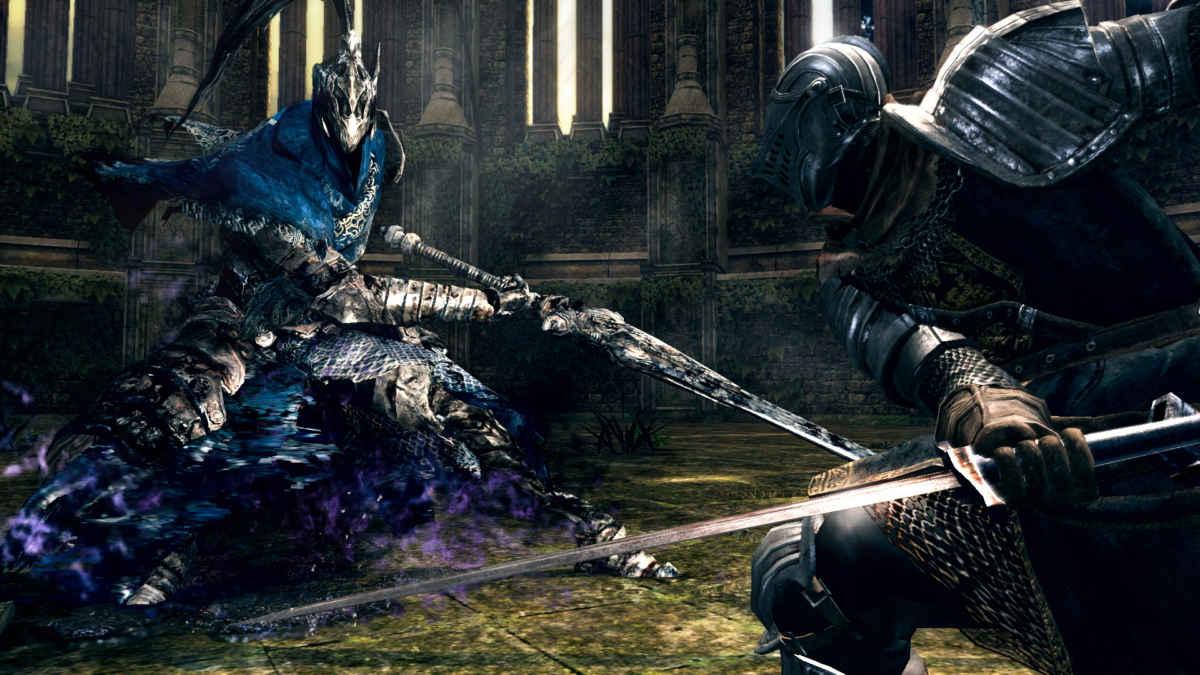 Screenshot proveniente dalla remastered di Dark Souls per Switch, raffigurante la boss fight col Cavaliere Artorias