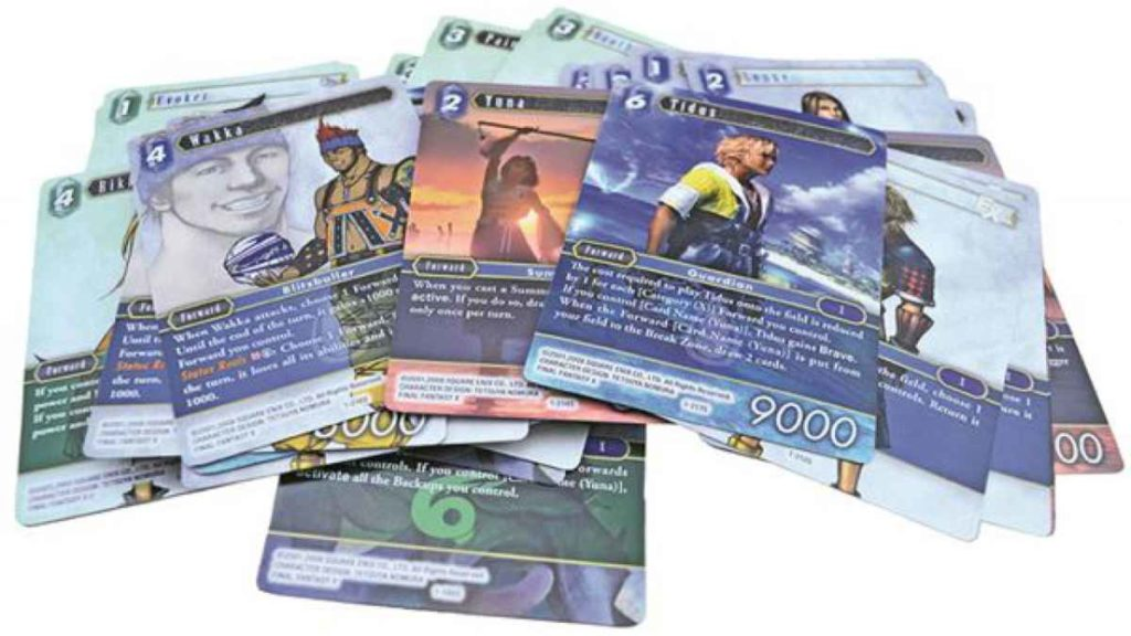 Una foto delle carte da gioco collezionabili di Final Fantasy Trading Card Game