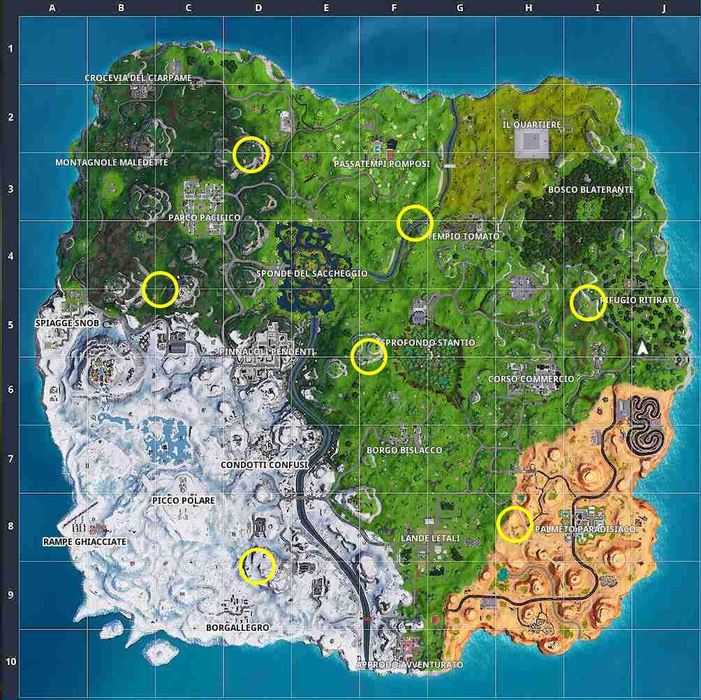 Fortnite stagione 7 settimana 7 mappa avamposti