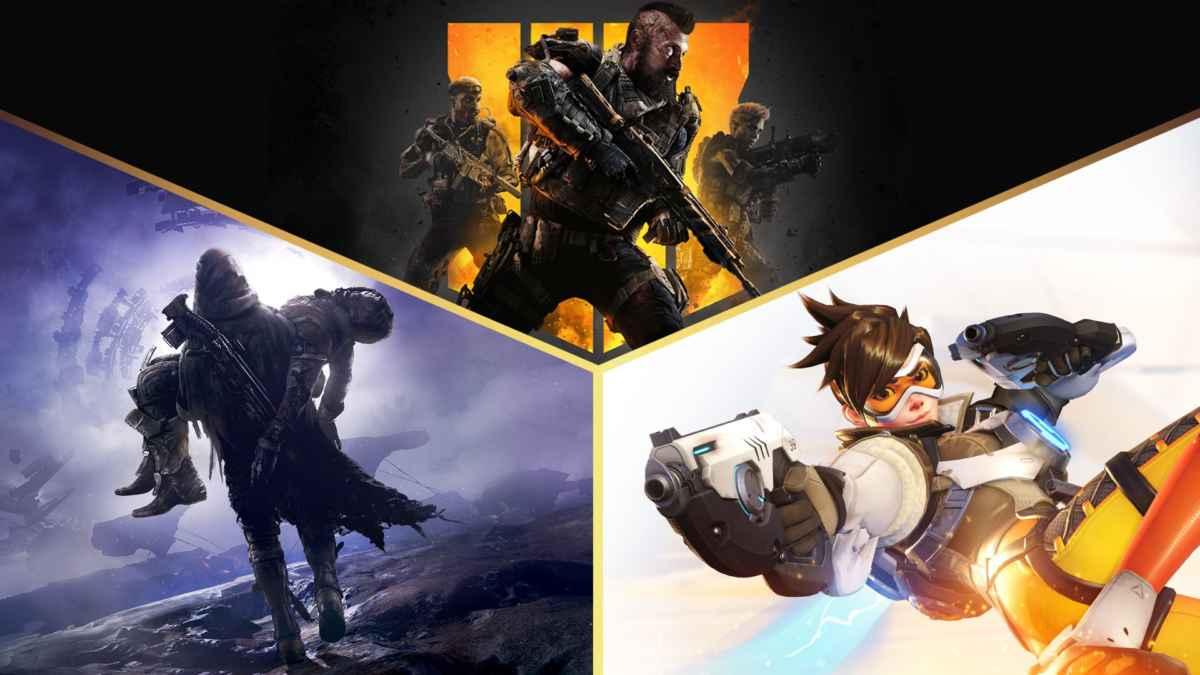 Immagine promozionale delle ip di Activision Blizzard, ovvero Call of Duty, Overwatch e Destiny