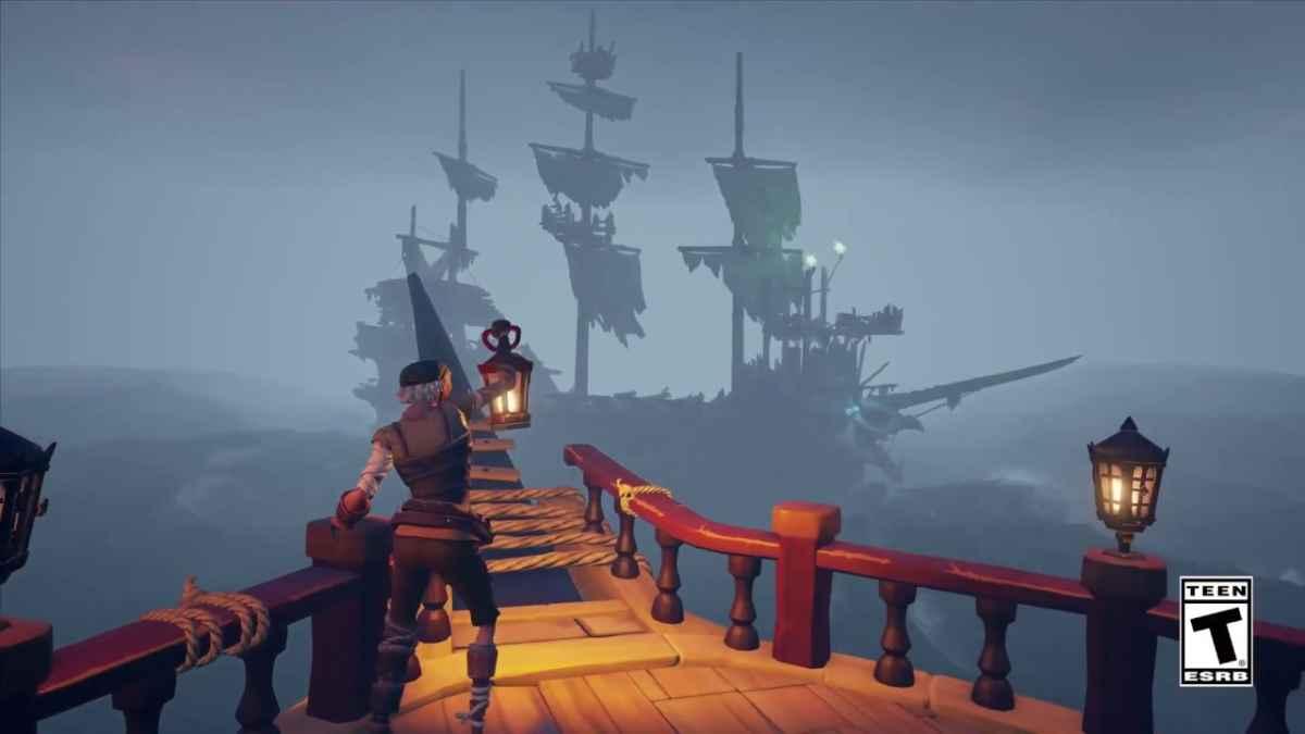 Screenshot dal nuovo DLC di Sea of Thieves che mostra una nave nella nebbia