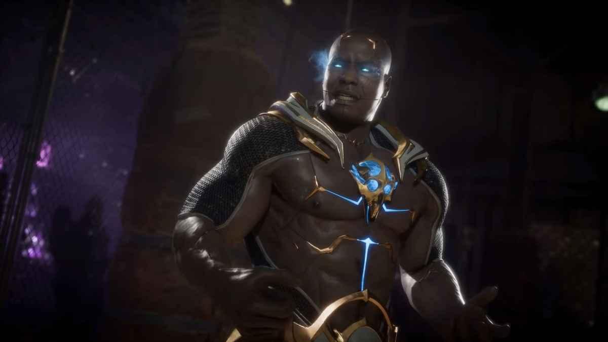 Screenshot del nuovo personaggio di Mortal Kombat 11, Geras, un guerriero capace di controllare la sabbia e il tempo
