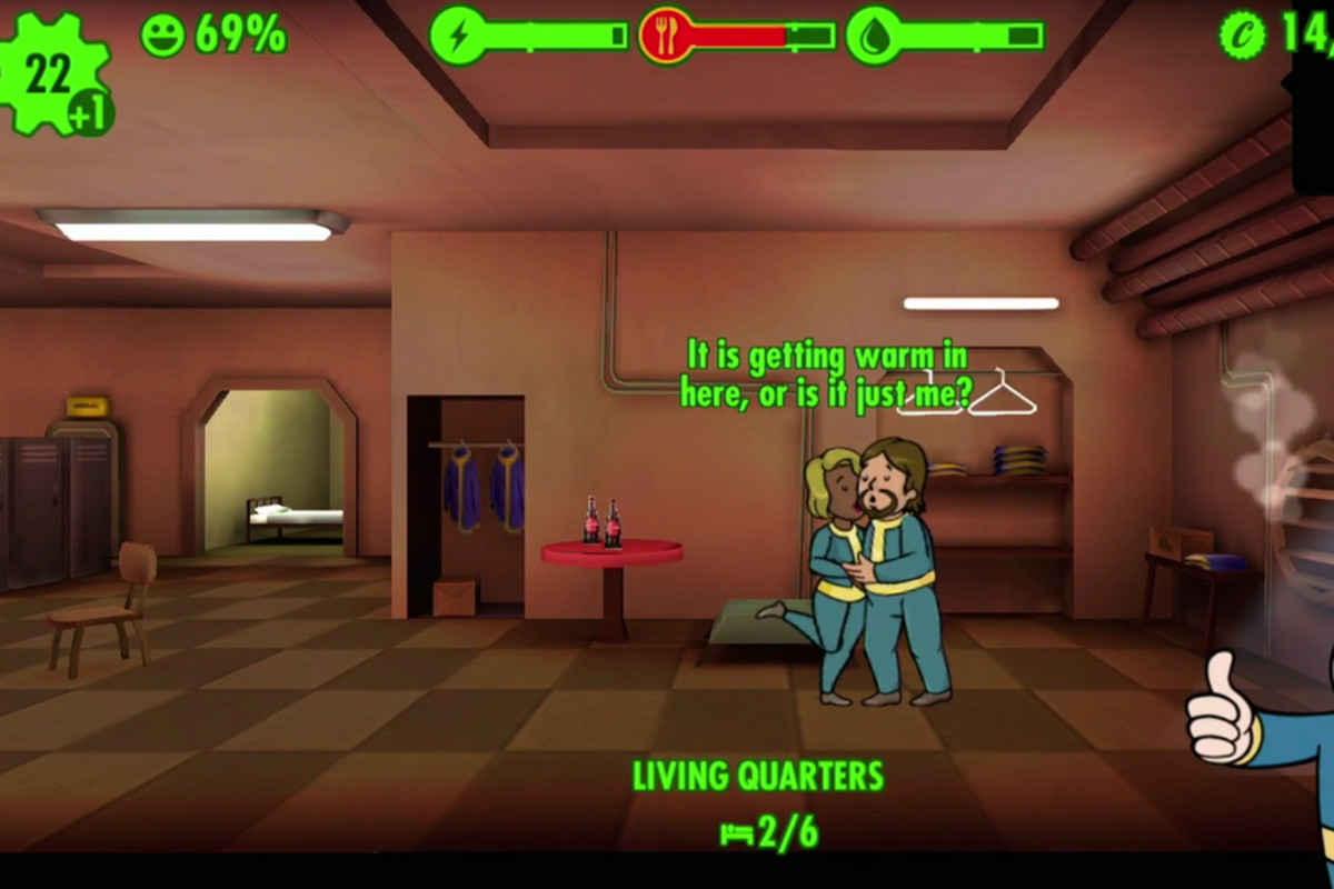 Screenshot tratto da Fallout Shelter in cui due abitanti del Vault si sbaciucchiano