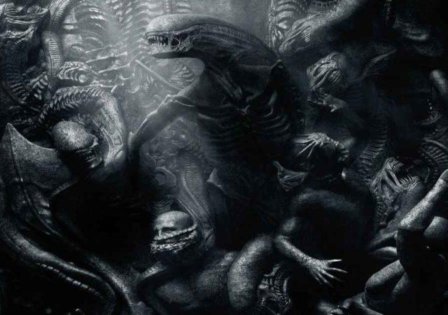 Un bassorilievo che raffigura gli Alien cacciare ed uccidere degli Ingegneri